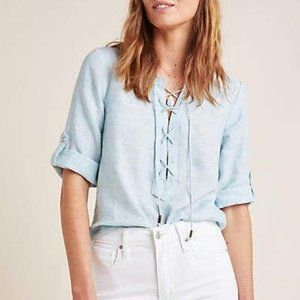 Anthropologie Maeve Marva Lace Up Linen Blouse
